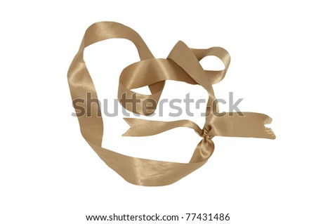Gold holiday Tape and  bow over white background