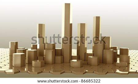 gold honeycomb abstract structure background 3d illustration. high resolution