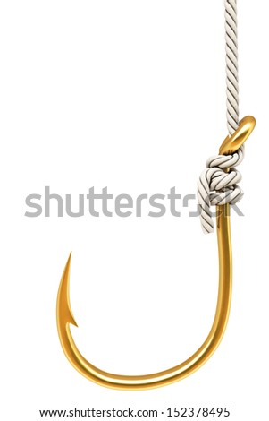 gold hook on the rope. Isolated on white. - stock photo