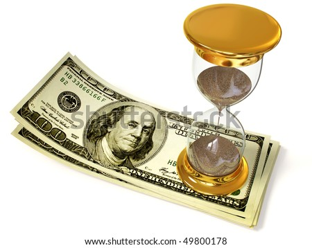 gold hourglass on a currency isolated background