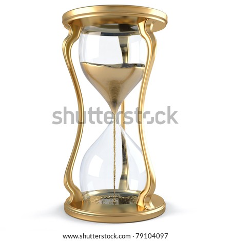 gold hourglass with golden stream flowing down. isolated on white.