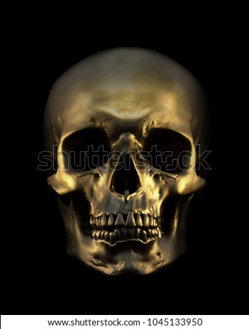 Gold human Skull Isolated on black