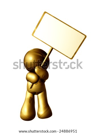 Gold icon figure with blank message board