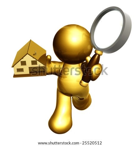 Gold icon friend searching house and property through the internet