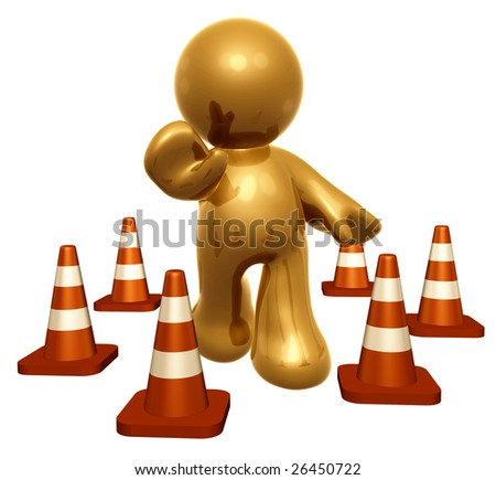 Gold icon guy with under construction cones
