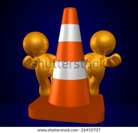 Gold icon guys with under construction cone
