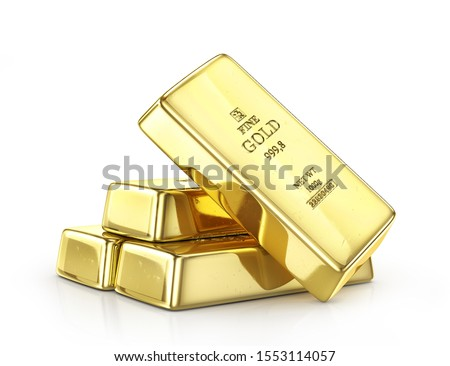 Gold ingot isolated on a white. 3d illustration