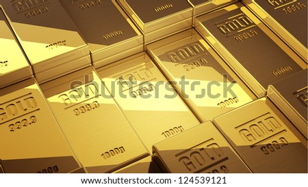 gold ingots background  High resolution 3d render