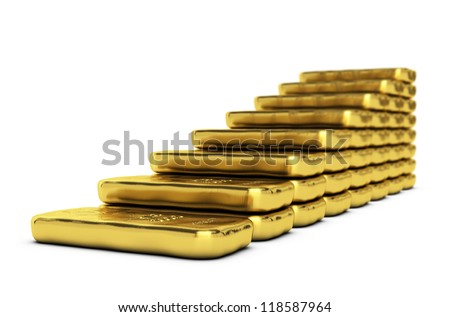 gold ingots making a bar chart over white background