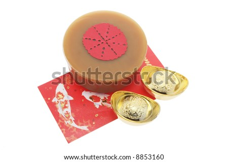 Gold Ingots; Red Packet and Chinese New Year Cake