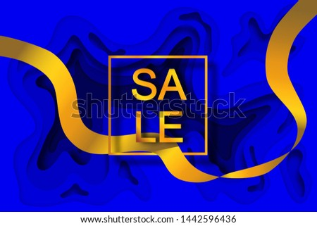 "Gold inscription ""SALE"" in a gold frame on a bright blue background with a layer-by-layer effect in the style of paper cut and golden ribbon passing through the frame. For advertising banner and/or ad"