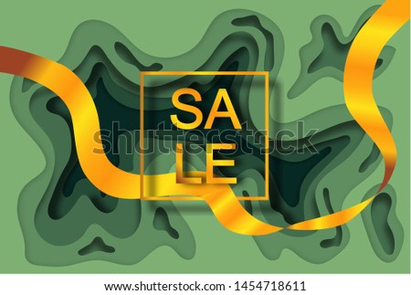 "Gold inscription ""SALE"" in a gold frame on a gradient green background with a layer-by-layer effect in the style of paper cut and golden ribbon passing through the frame.  For a promo, ad"