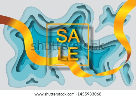 "Gold inscription ""SALE"" in a gold frame on a white blue background with a layer-by-layer effect in the style of paper cut and golden ribbon passing through the frame. For advertising banner and/or ad"