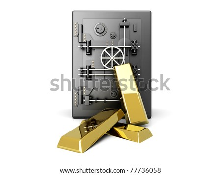 Gold investment. 3D rendered Illustration. Isolated on white.