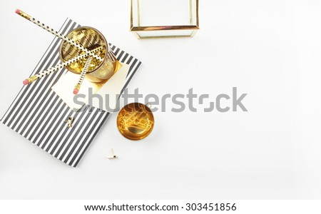 Gold items office, table view, white background mock up