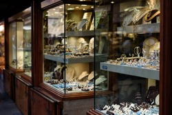 Gold jewelery shop on Gold Bridge in Florence, Italy