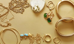 gold jewelry - pendants, bracelets, rings and chains