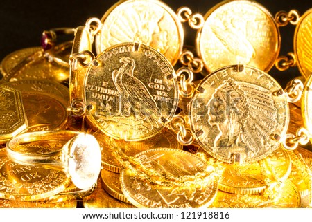 Gold jewels and coins  treasure
