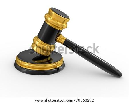 gold judge gavel isolated on white background