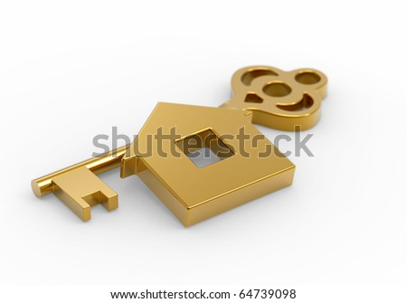 Gold key and little toy house on white