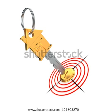 Gold key and target isolated on the white background