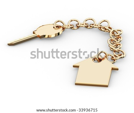 Gold key charm  pendant
