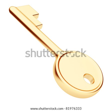 Gold key 3d. Isolated on white
