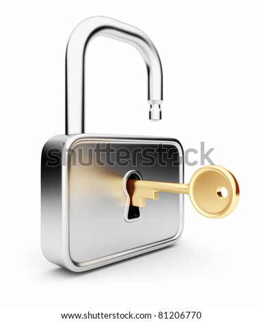 Gold key in the metal lock. Isolated 3D