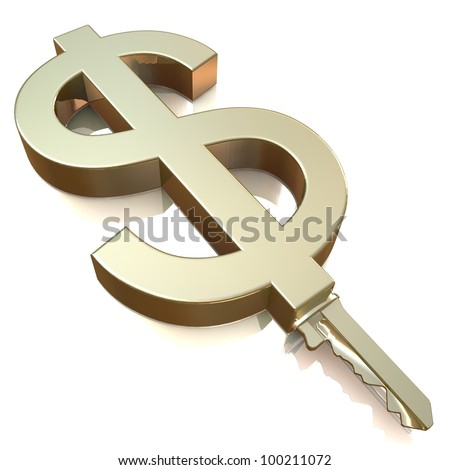 Gold Key With Dollar Sign As Symbol For Money Or Wealth