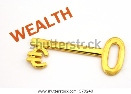 "Gold key with euro symbol next to the word ""wealth"""