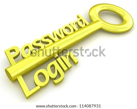 Gold key with password and login