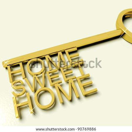 Gold Key With Sweet Home Text As Symbol For Property And Ownership
