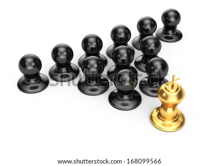 gold king and pawns isolated on white background. 3d leadership concept