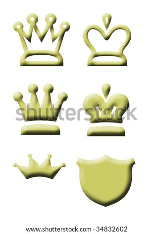 Gold king and queen regal crown icons isolated on white background.