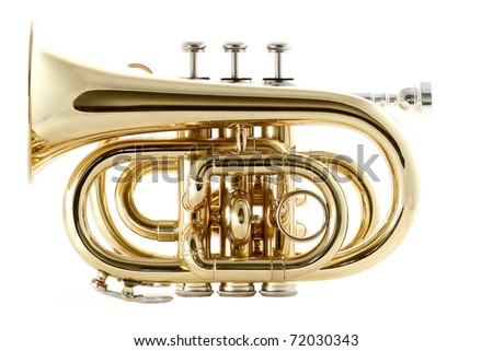 gold lacquer pocket trumpet with mouthpiece