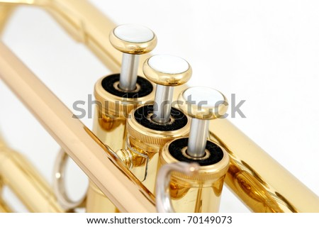 gold lacquer trumpet valves on white background