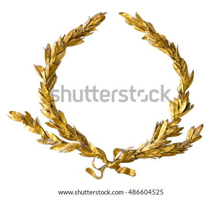 Gold laurel wreath isolated on white #486604525