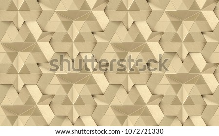 Gold leather 3D tiles with internal shiny gold element. High quality seamless realistic texture.