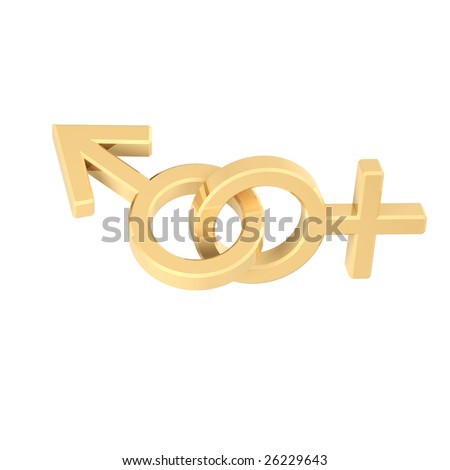 stock photo : Gold linked sex symbols. Computer generated 3D photo rendering ...