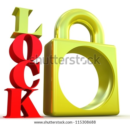 Gold lock on white background - stock photo