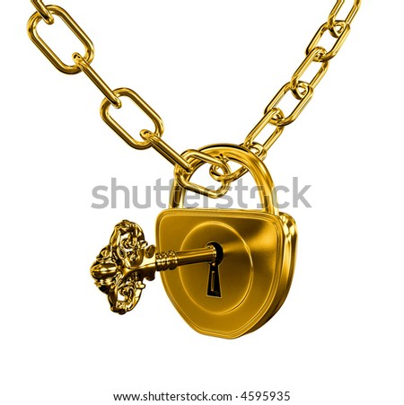 Gold lock with key and chain isolated with vector clipping path included - stock photo