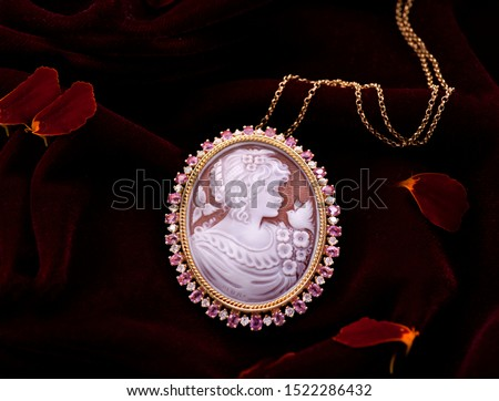 Gold luxury elegant pendant with picture of woman  #1522286432