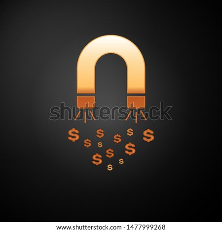 Gold Magnet with money icon isolated on black background. Concept of attracting investments, money. Big business profit attraction and success