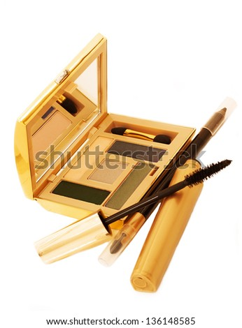 gold make up collection isolated - stock photo