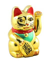 Gold Maneki Neko Japan Lucky Cat, Isolated with Clipping path