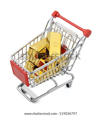 Gold market Gold bar in shopping cart. Isolated on white with clipping path.