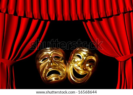 gold mask of tragedy and comedy between a red theatre curtain