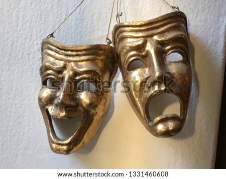 gold masks of comedy and tragedy  #1331460608