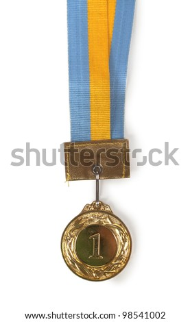 gold Medal & Ribbon on isolated background
