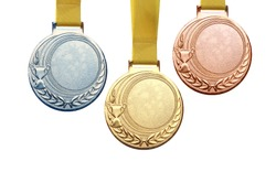 Gold medal, silver medal and bronze medal isolated on white background